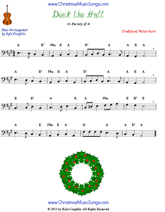Deck the Halls for bass - free sheet music
