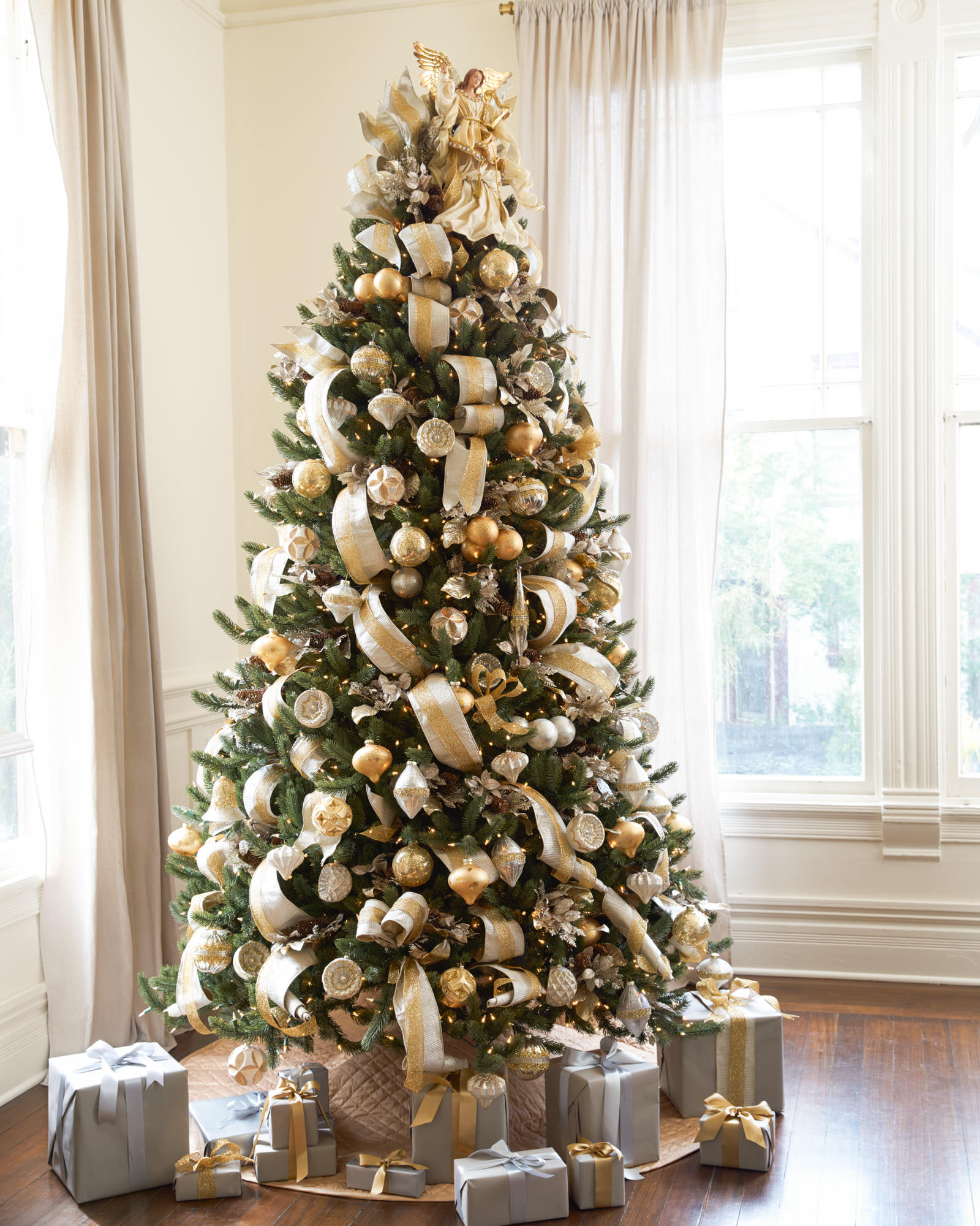 Silver and gold christmas tree christmas tree decorating