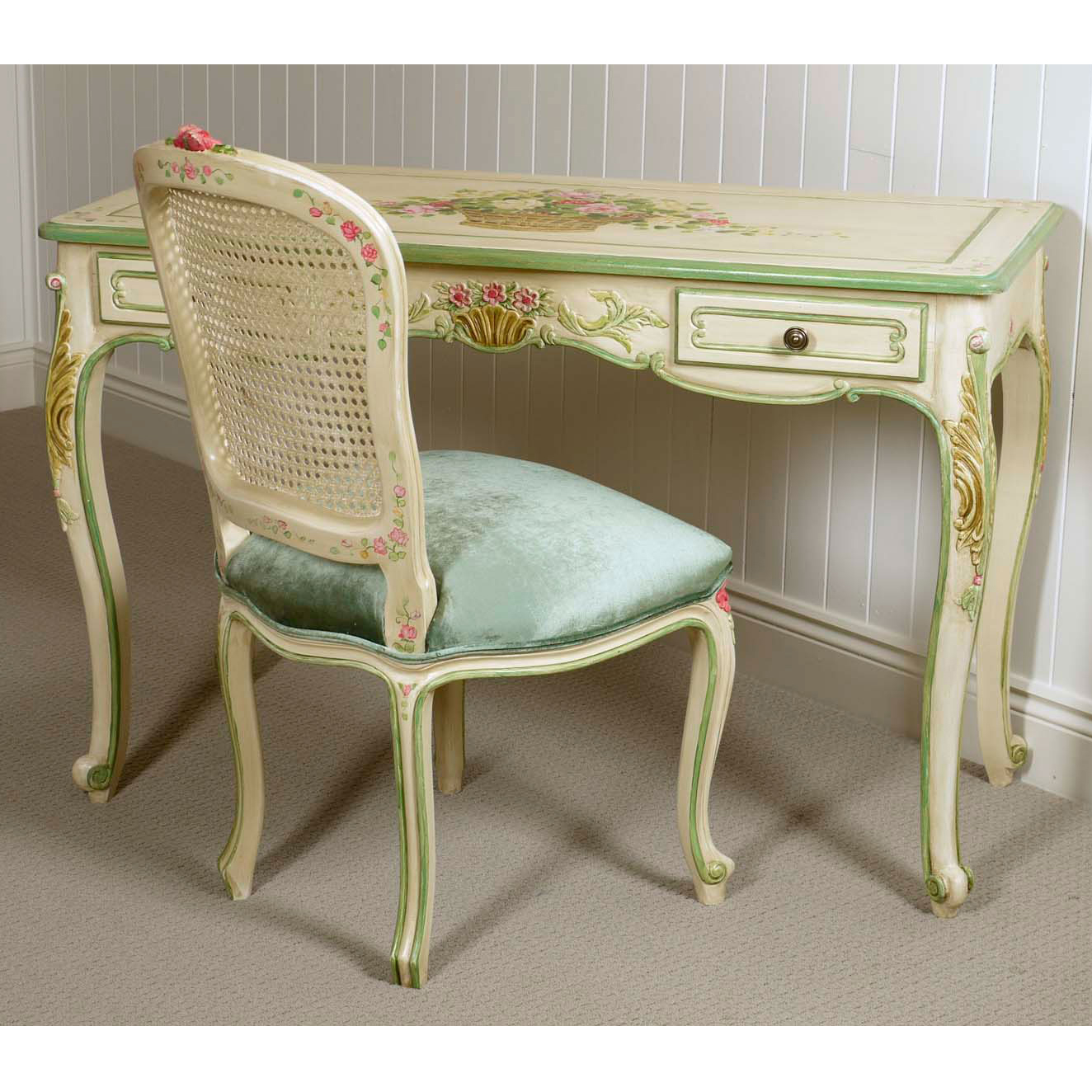 Chambord Desk Hand Painted Floral Christophe Living