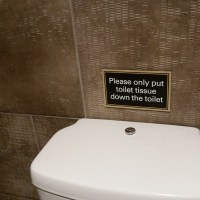 Please only put toilet tissue down the toilet