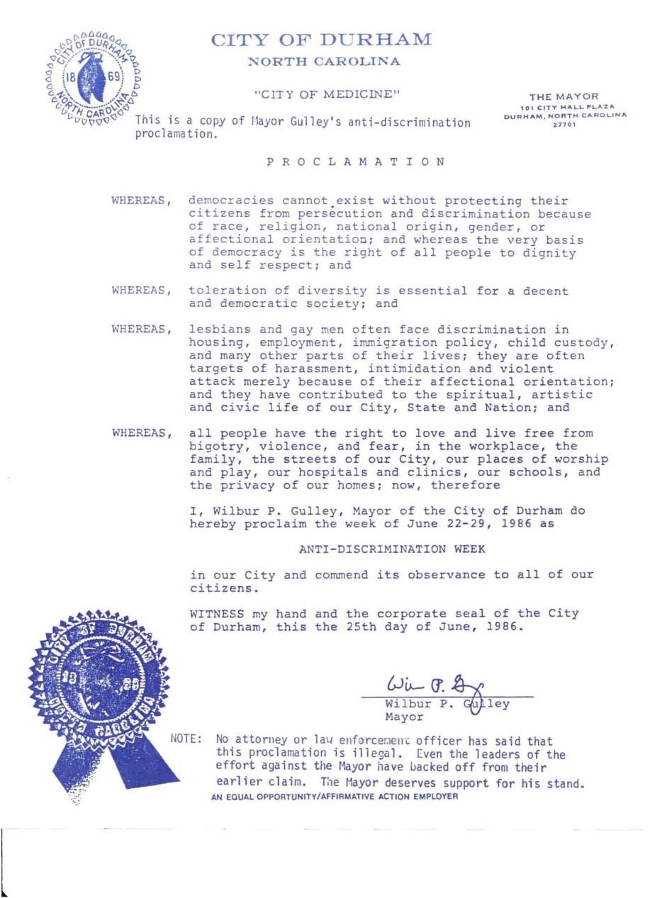 Anti-Discrimination Week proclamation, Durham, NC (1986)