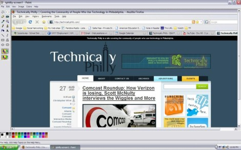 Here, in MS Paint, you see my browser screen -- complete with tabs. I want to isolate the site's logo.