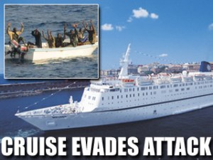 African pirates attack Italian luxury cruise ship.