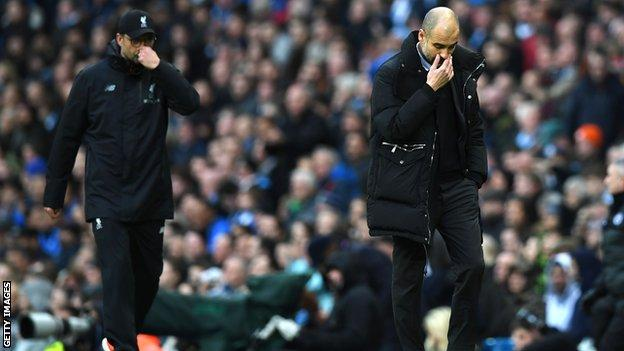 Pep Guardiola and Jurgen Klopp were both extremely active in their technical areas