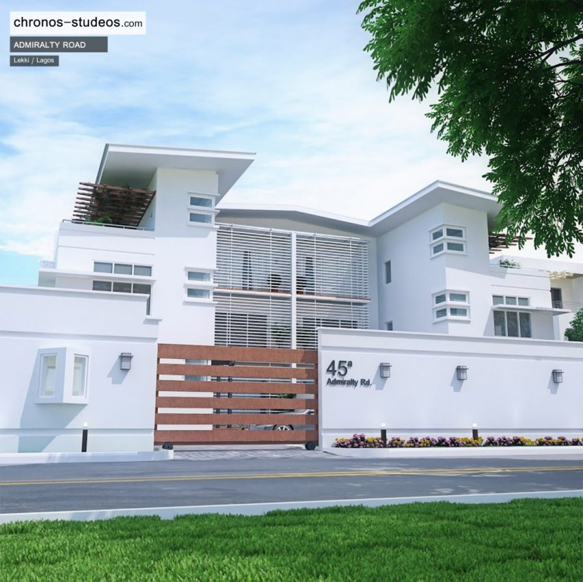 Admiralty Road exterior 3D visualization by Chronos Studeos Luxury Home in Lekki in Lagos Nigeria