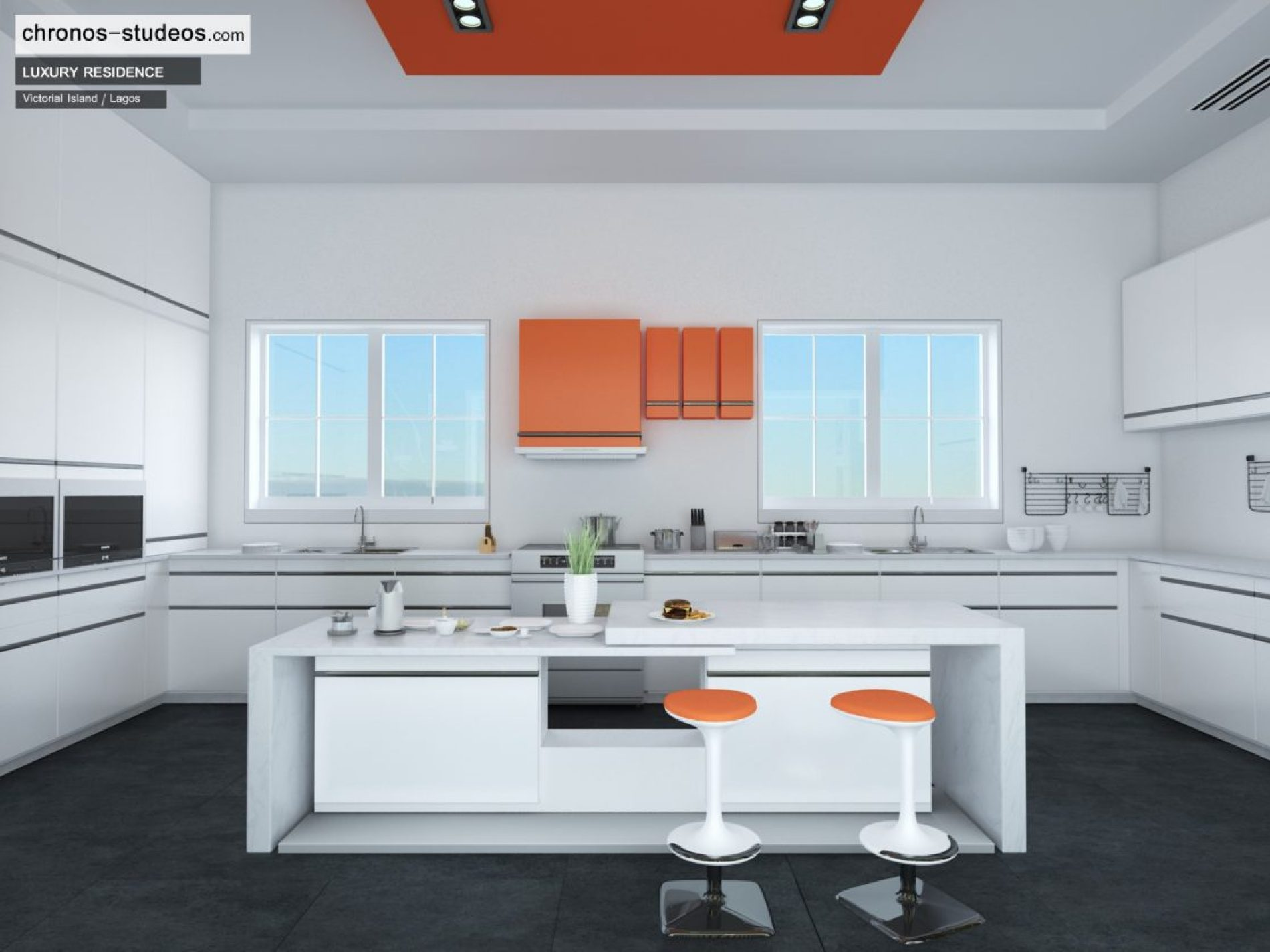 Making of Ivory White – Contemporary Kitchen 3D Rendering