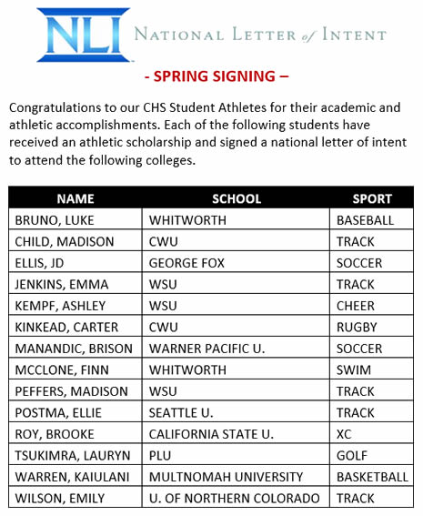 National Letter of Intent Signing - Camas High School