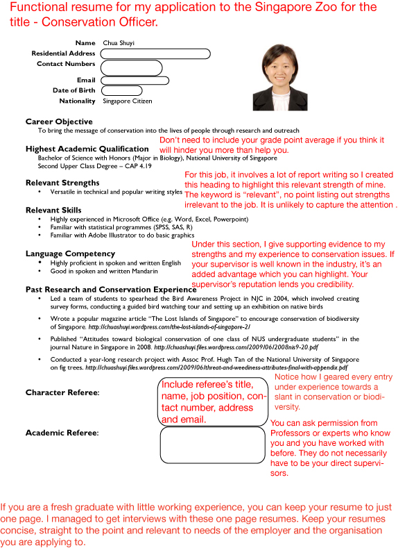 Standard Resume Format In Singapore | Service Level Agreement ...