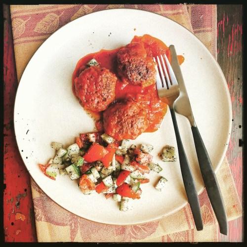 Beef Kofte and Shirazi Salad