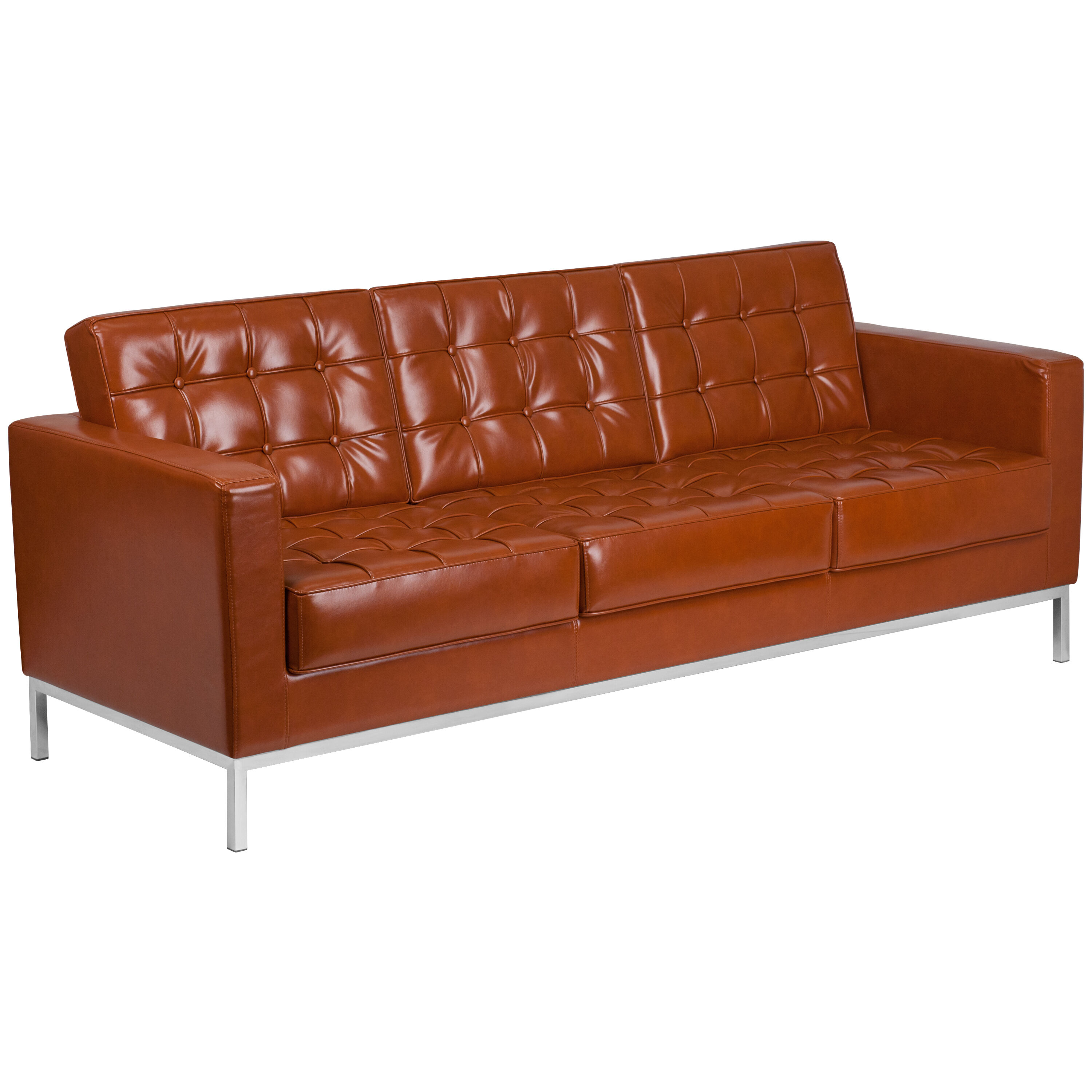 Sofa Cognacfarben Hercules Lacey Series Contemporary Cognac Leather Sofa With Stainless Steel Frame