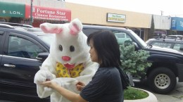 Easter bunny signing autograph