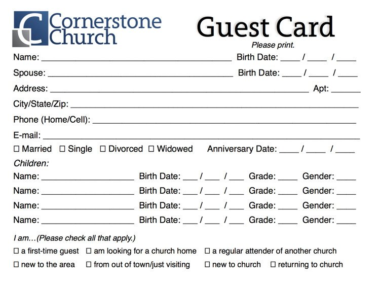Free Church Guest Card Template - ChurchMag