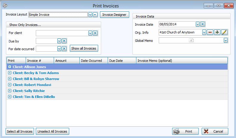 Accounts Receivable Invoices - print invoice