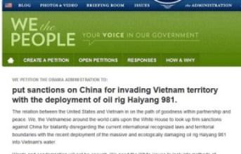 Cách ký tên ủng hộ kiến nghị trừng phạt Trung Quốc trên trang mạng Nhà Trắng