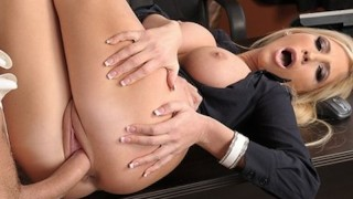 Sexy blonde saleswoman fucks her business investor