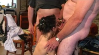 Papy likes to watch babes sucking cock