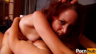 French red-head fucks for the first time on the camera