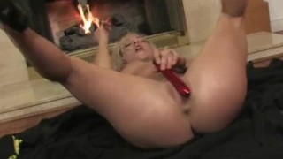 Sexy blonde slut uses a vibe on herself