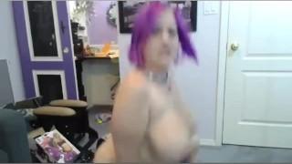Midget Big Tits Rides Her Dildo Ball On Webcam