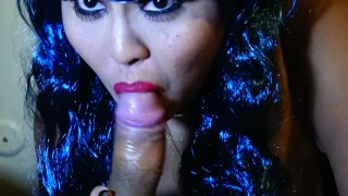 Wife gives amazing blowjob with blue hair