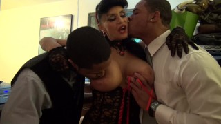 Granny goes Black-Potty mouth White GILF takes 3-way BBC fuck of her life