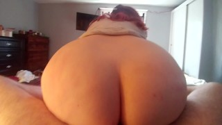 My Big White Booty Bouncing on his cock until he cums on my titties