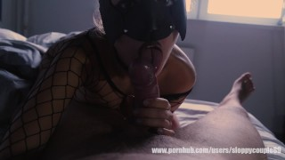 Morning blowjob and fast fuck in new kitty mask
