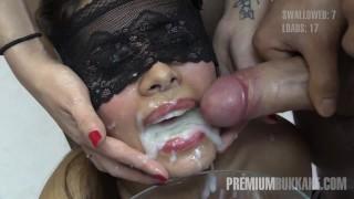 Premium Bukkake - Victoria swallows 81 huge mouthful cum loads