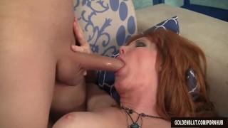 Redheaded grandma Freya Fantasia fucked hard