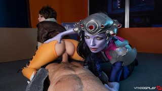 VR Cosplay X CFNM Threesome With Widowmaker And Tracer VR Porn