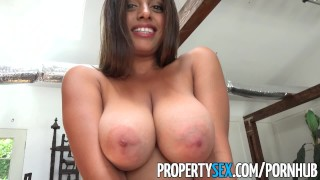 PropertySex - Potential client impressed by big natural tits