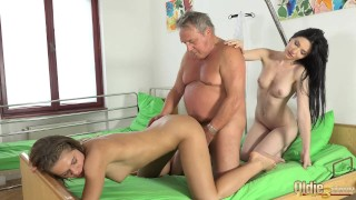 Grandpa at the doctor fucks hot young nurses in old young threesome porn