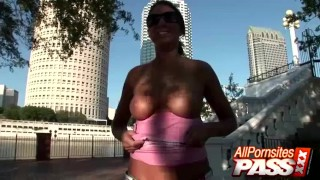 Brunette Flasher At The City