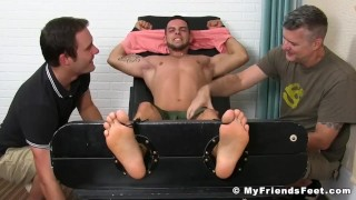 Two pervy dudes restrain and tickle sexy jock Christian W
