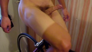 Nude guy biking hard-on penis_slow motion recording