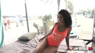 Dark Haired beauty Aysha aggrees a free Massage at beach