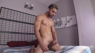 LATINO GUY DAGUY STROKES HIS COCK AND PLAYS WITH SPIT AND ARMPITS