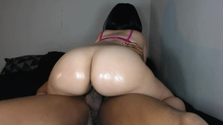 Sexy big booty redbone ride's her friends huge cock fun!