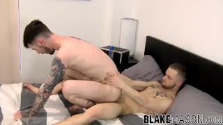 Inked stud rides his boyfriends big dick after sucking it