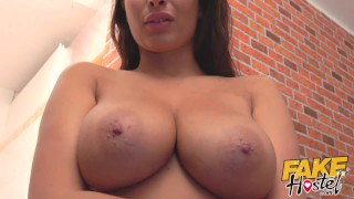 Fake Hostel - French girl with huge natural tits drinks from mature lesbian