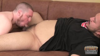 Young chubby cubs do it bareback on the sofa in Vegas