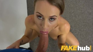 Fake Agent Hot office fuck for slender sexy naughty British model