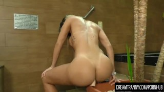 Lustful Shemale Crams a Dildo in Her Ass