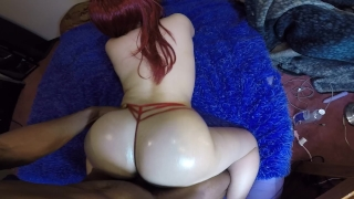 Bubble booty chick deep throats & get's smashed doggy style in perfect POV!