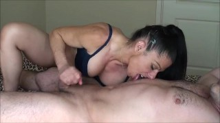 Belly licking hand job