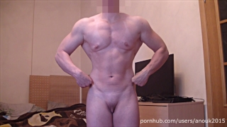 Posing, Flexing and Jerking - Muscle Girl with Big Сlit ANOUK