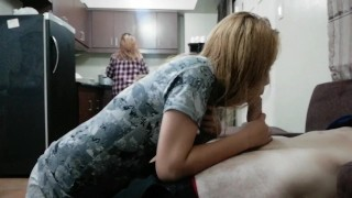 Crazy girlfriend gives a handjob when her stepmom is cooking in the kitchen