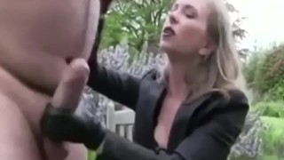 Mistress T jerks off a beautiful big cock