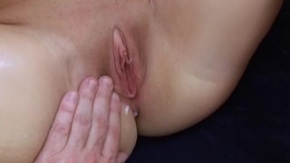 Little Sam takes huge cum on tits after creampie