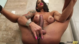Big Tranny Jerks off and Toy fucks ass